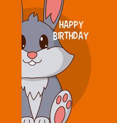 Rabbit cute birthday card vector