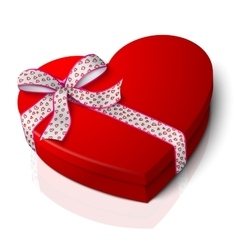 realistic blank bright red heart shape box vector image