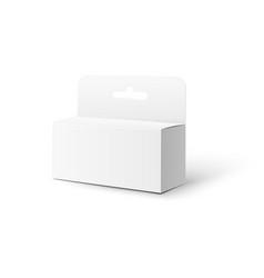 Realistic white box pack mockup with hang tab vector