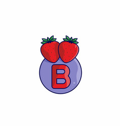 Red strawberry with b initial letter vector