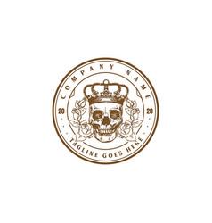 retro vintage skull rose flower badge emblem logo vector image