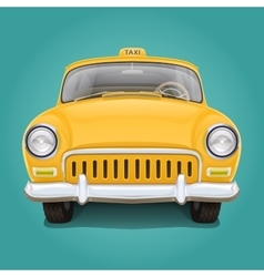 Retro yellow taxi Front view vector