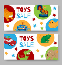 Sale clockwork toys with key banners or voucher vector