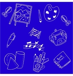 School supplies doodles on blue backgrounds vector