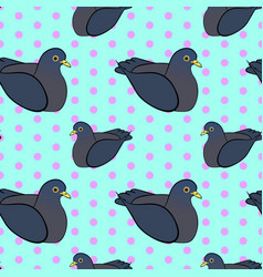 Seamless vintage pattern with pigeon birds vector