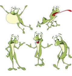 Set Cartoon Cute Green Frogs vector