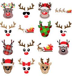 set funny christmas reindeers vector image