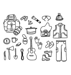 set of camping elements with touristic accessories vector image