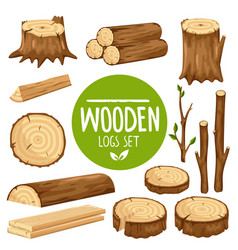 Set of wood logs vector