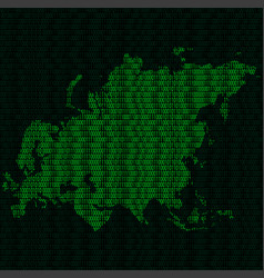 Silhouette of eurasia from binary digits on vector