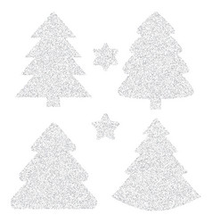 silver glitter icon of christmas tree isolated on vector image