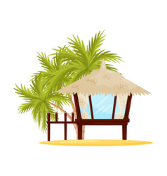 small beach house with big windows tropical vector image