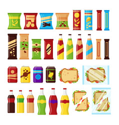 snack product set for vending machine fast food vector image