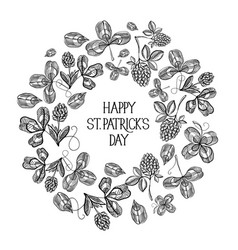 st patricks day floral round composition vector image
