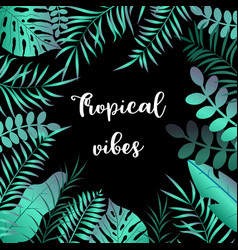 summer tropic background with palm leaves vector image