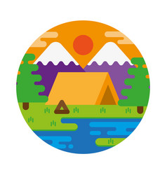Sunset camping vector