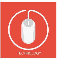 technology white mouse red background image vector image
