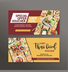 Thai food voucher design with crispy pork boiled vector