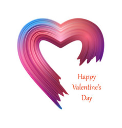 valentines heart liquid brush shape color vector image