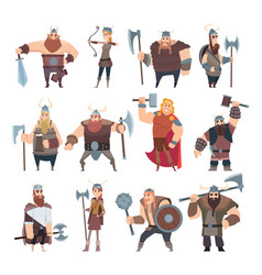viking cartoon scandinavian mythologyy characters vector image