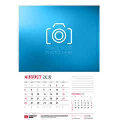 wall calendar planner template for 2018 year vector image