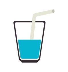 Water glass with straw vector