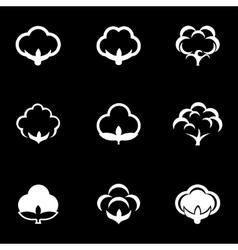 White cotton icon set vector