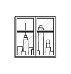 Window city town view outline vector