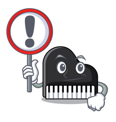with sign piano character cartoon style vector image