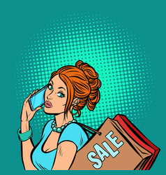 woman buyer talking on phone vector image