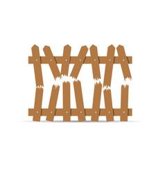 Wooden broken fence vector