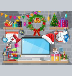 year office desk workspace interior vector image