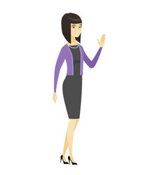 young asian business woman waving her hand vector image