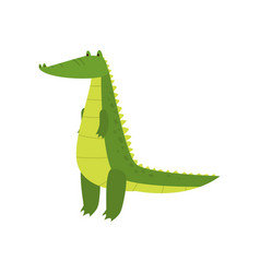 young green cute cheerful crocodile spends his vector image