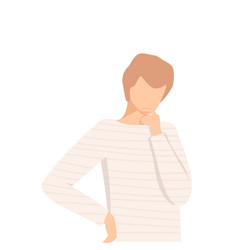 Young man standing deep in his thoughts vector