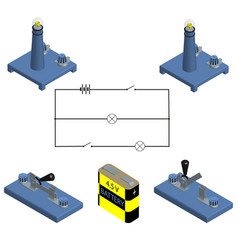 circuit concept of battery with power switch vector image