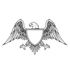 eagle with shield isolated on white background vector image vector image