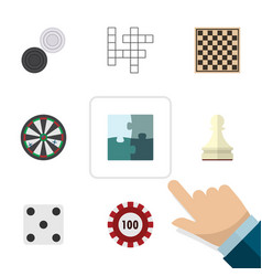 flat icon play set of jigsaw pawn arrow and vector image vector image