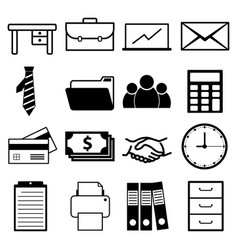 office and business icon set vector image