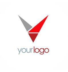 triangle letter v logo vector image