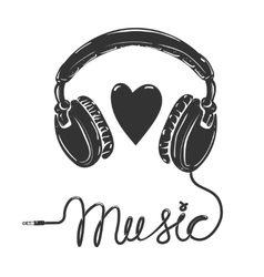 I love music Headphones with text isolated on vector image