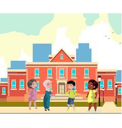 kids of different nationalities in school vector image