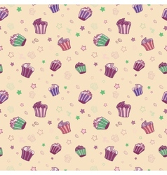pattern with muffins vector image