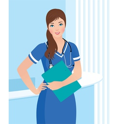 Smiling nurse or doctor at the clinic interior bac vector image