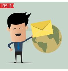 Business man deliver envelope vector image