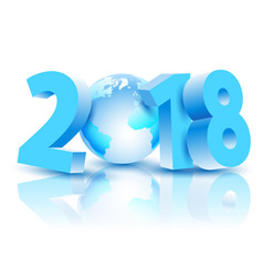 new year 2018 with earth planet vector image
