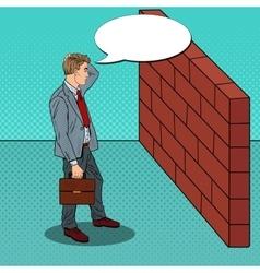 Pop Art Doubtful Businessman in Front of Wall vector image