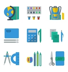 School accessories colored simple icons vector image vector image