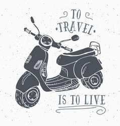 scooter motorbike vintage label hand drawn sketch vector image vector image