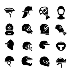 Set icons of helmets and masks vector image vector image
